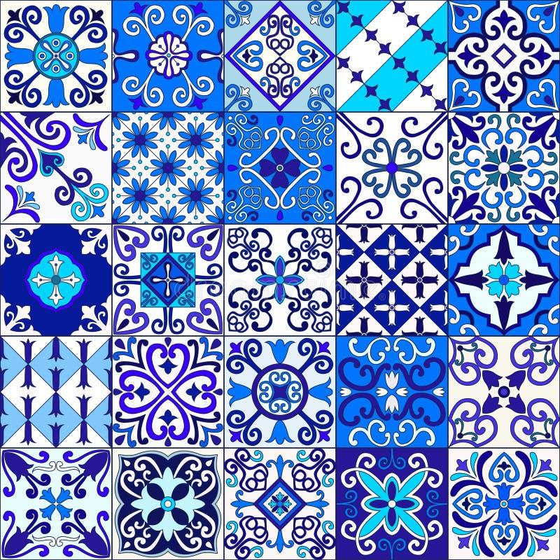 葡萄牙语铺磁砖与蓝色和白色装饰品的无缝的样式传染媒介 塔拉韦拉、azulejo,墨西哥人,西班牙或者阿拉伯主题 向量例证
