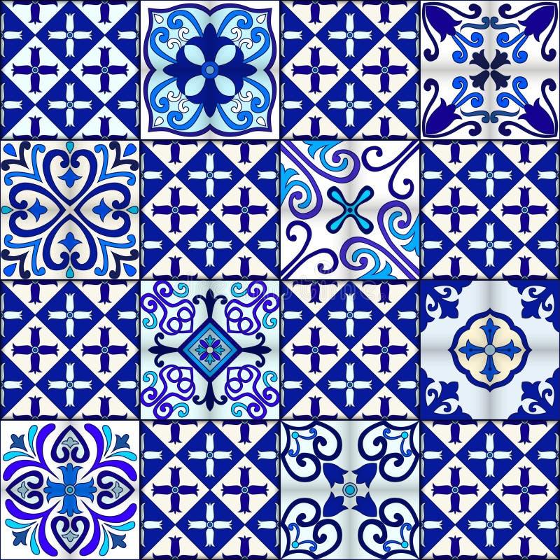 葡萄牙语铺磁砖与蓝色和白色装饰品的无缝的样式传染媒介 塔拉韦拉、azulejo,墨西哥人,西班牙或者阿拉伯主题 库存例证