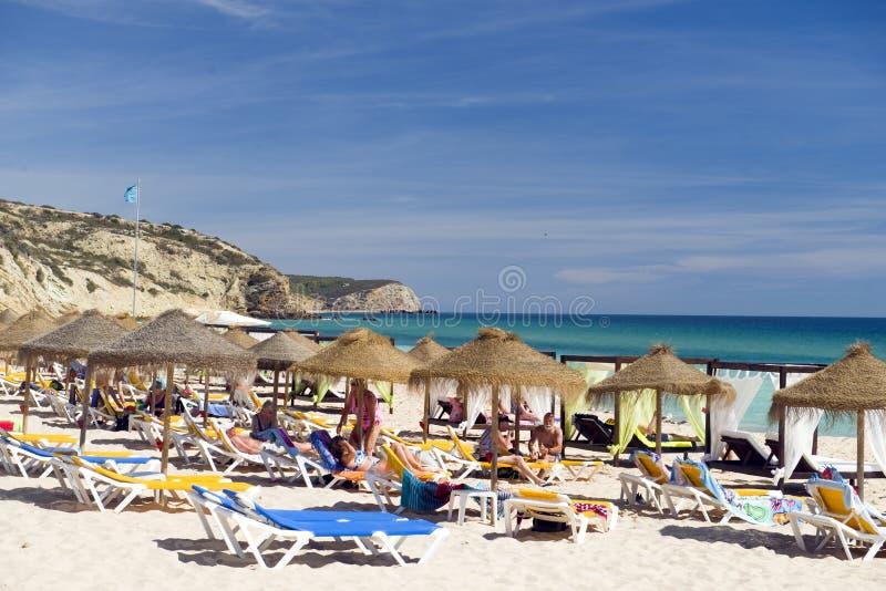 葡萄牙阿尔加维Salema海滩编辑 免版税图库摄影