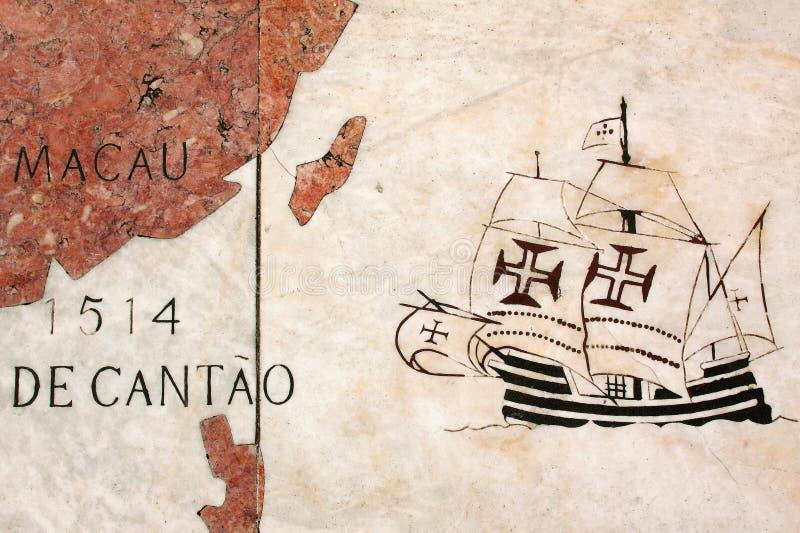 葡萄牙,发现葡萄牙远航地图在大理石的 免版税库存图片