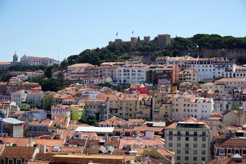 葡萄牙,里斯本,从上面城市的全景,从圣朱斯塔推力 图库摄影