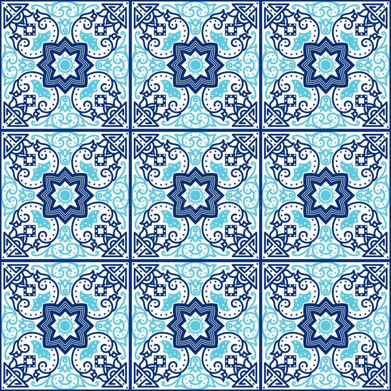 葡萄牙azulejo瓦片 仿造无缝 向量例证