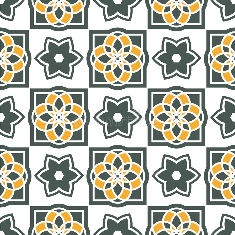 葡萄牙azulejo瓦片 仿造无缝 皇族释放例证