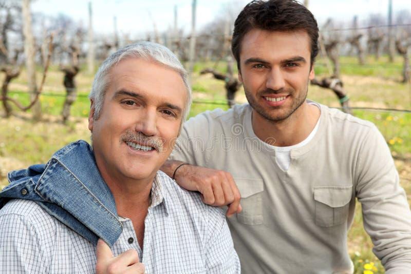 葡萄种植者在他们的葡萄园里 免版税库存图片