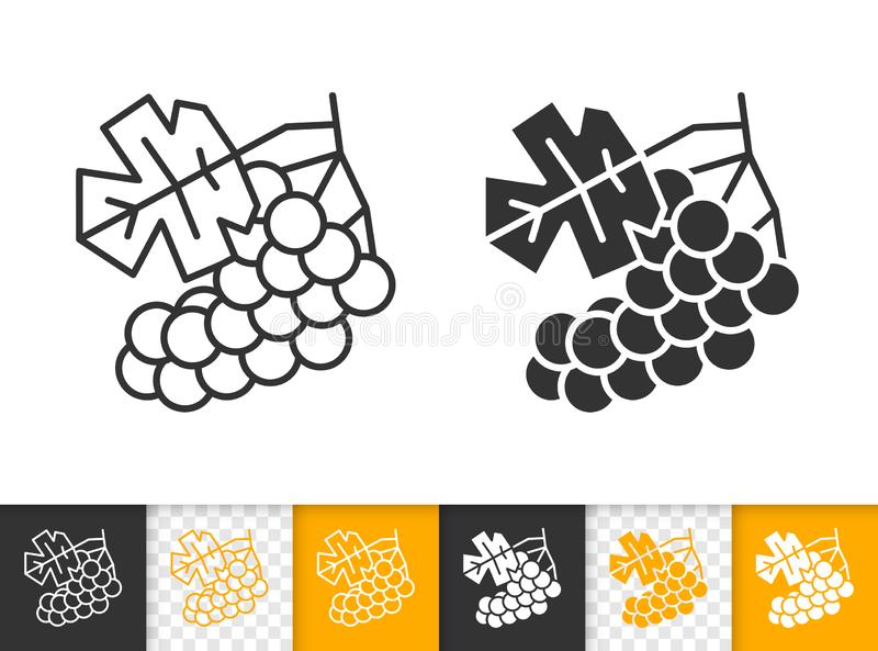 葡萄简单的黑线水果酒传染媒介象 向量例证