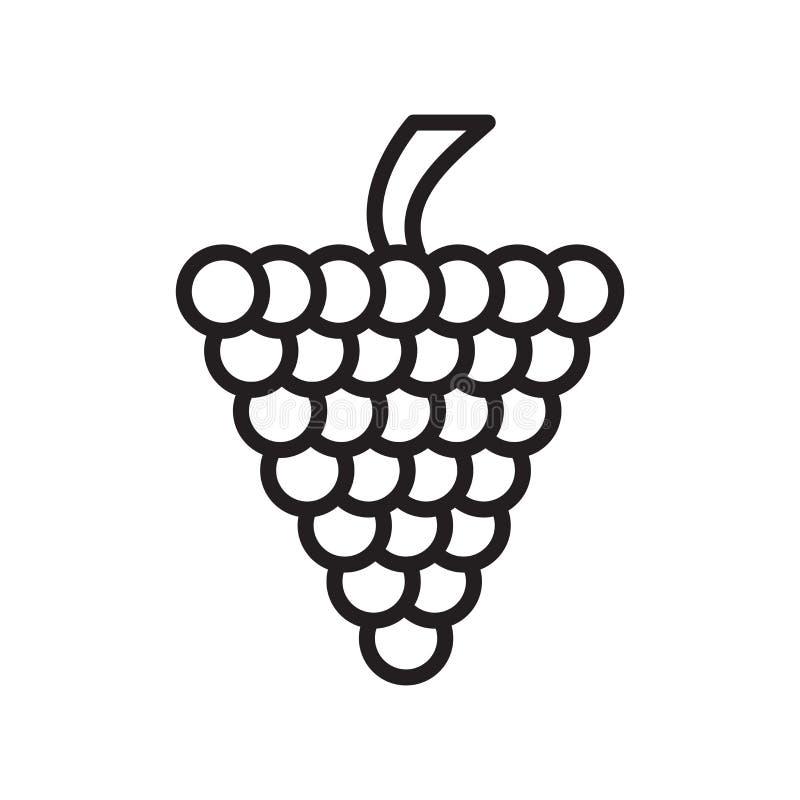 葡萄象在白色背景和标志隔绝的传染媒介标志,葡萄商标概念,概述标志,线性标志,概述标志 皇族释放例证