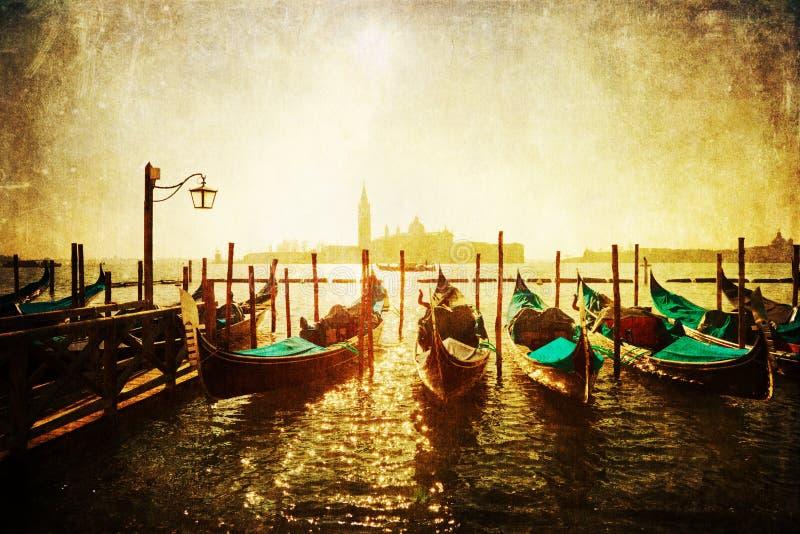 葡萄酒一次长平底船着陆的样式图片在威尼斯 免版税库存图片