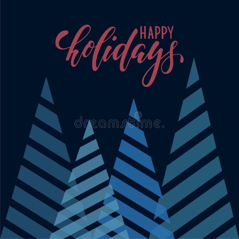 葡萄酒三角风格化圣诞树 在上写字手拉的书法节日快乐 设计假日贺卡和 库存图片