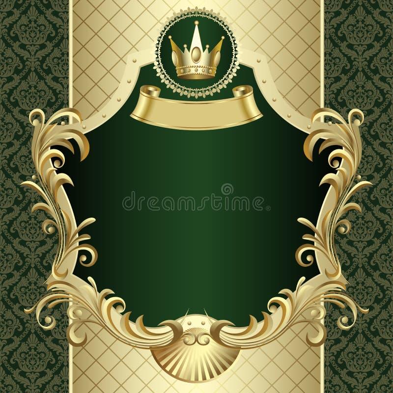 葡萄酒与一个冠的金横幅在深绿巴洛克式的backgroun 皇族释放例证