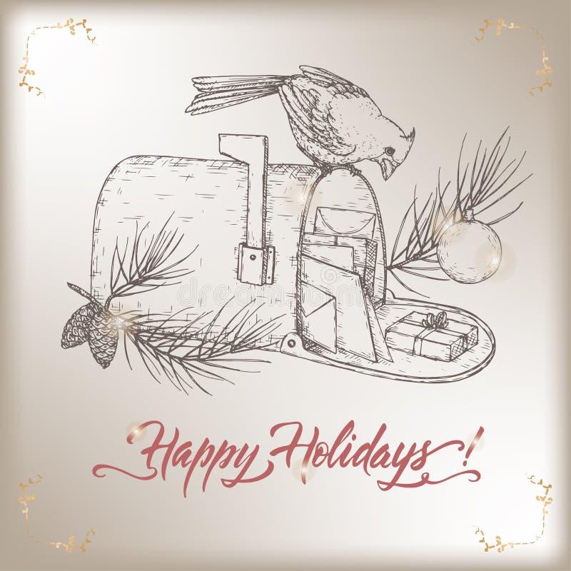 葡萄酒与主要鸟的圣诞卡在邮箱,杉木分支和假日掠过字法 库存例证