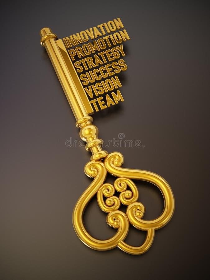 葡萄酒与企业和成功相关词的金子钥匙 3d例证 皇族释放例证