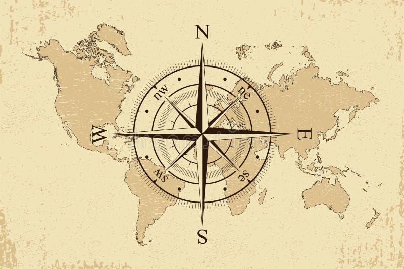 葡萄酒与减速火箭的指南针的世界地图 背景老纸地图和风上升了 向量 向量例证