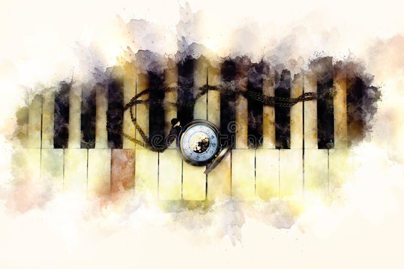 葡萄酒与古色古香的怀表的钢琴钥匙有链子的,时间概念 软软地被弄脏的水彩背景 向量例证