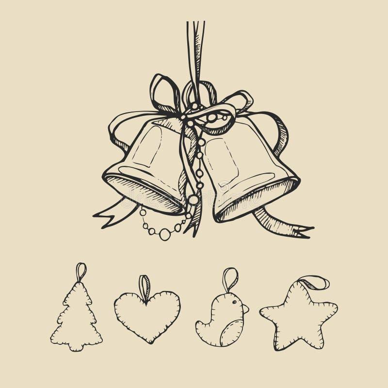葡萄酒与响铃和玩具的手图画背景 也corel凹道例证向量 皇族释放例证