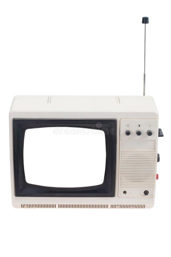 葡萄酒与在白色查出的空白空白屏幕的电视机 免版税库存照片