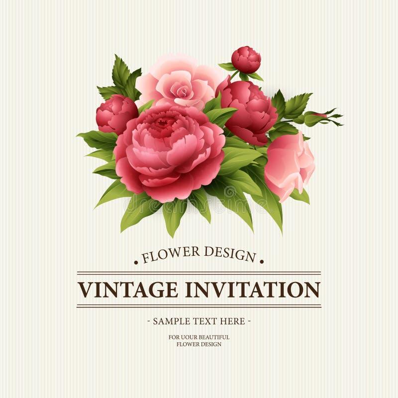 葡萄酒与开花的牡丹和玫瑰色花的贺卡 也corel凹道例证向量 皇族释放例证