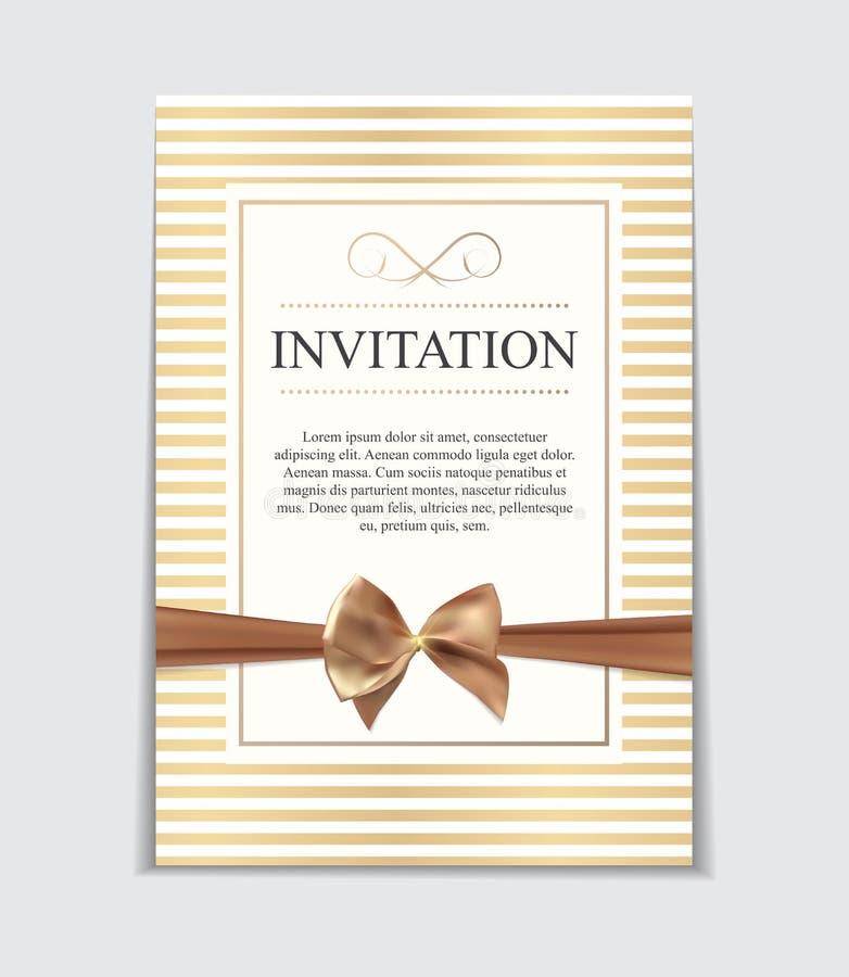 葡萄酒与弓和丝带模板传染媒介的婚礼邀请我 向量例证