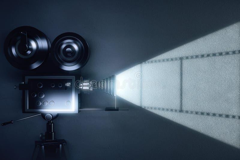葡萄酒与影片卷轴的电影摄影机在灰色墙壁上的 库存照片