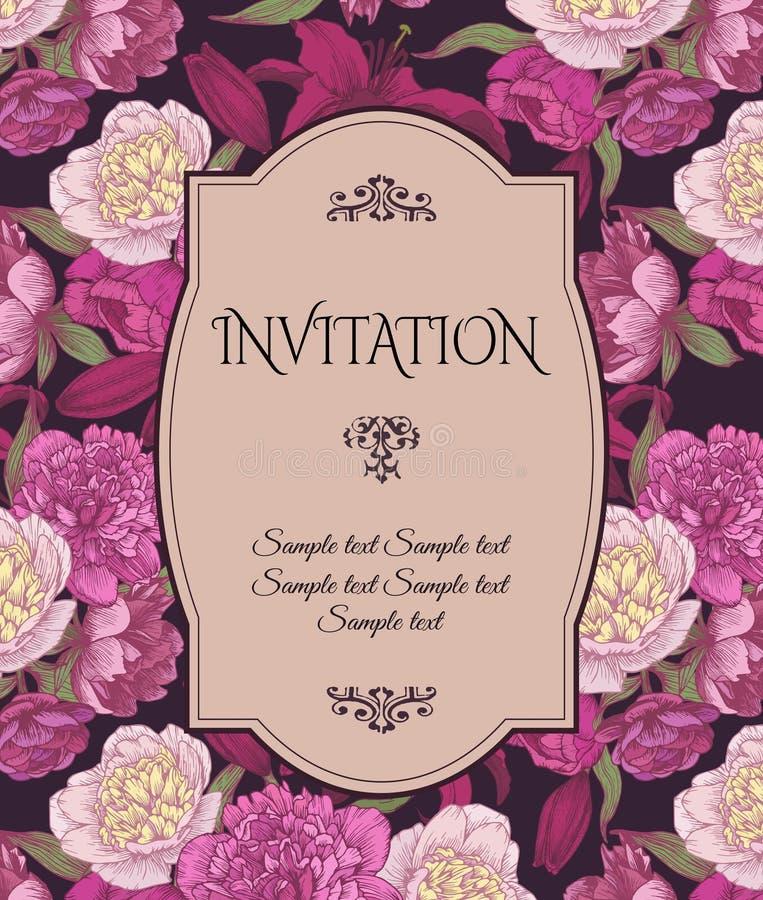 葡萄酒与手拉的桃红色和白色牡丹,红色百合的邀请卡片,可以为婴儿送礼会、婚礼,生日和在地平线上方使用 向量例证