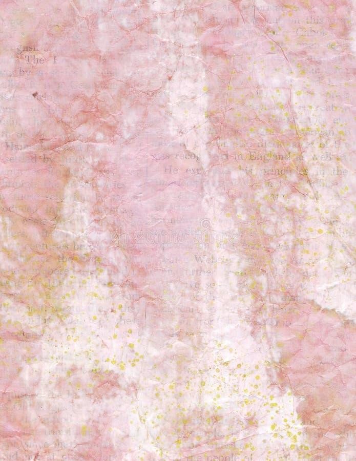 葡萄酒与文本的被弄皱的桃红色纸背景 库存例证
