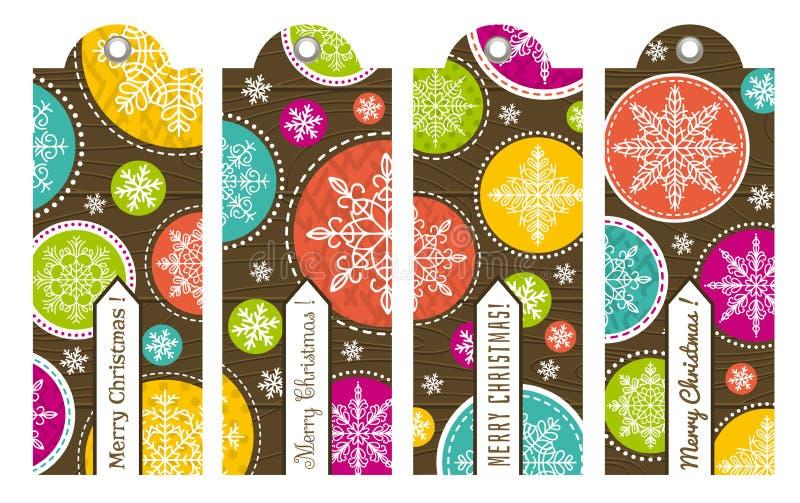 葡萄酒与文本,传染媒介的圣诞节标签 向量例证