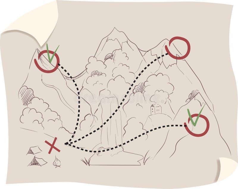 葡萄酒与标记的旅行地图 向量例证
