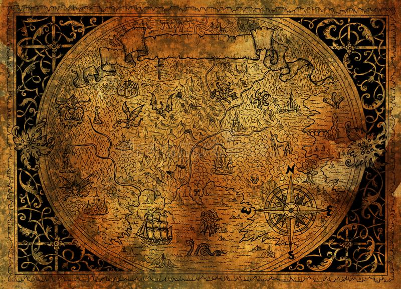 葡萄酒与海盗船,指南针,在老纸纹理的龙的幻想世界地图 向量例证