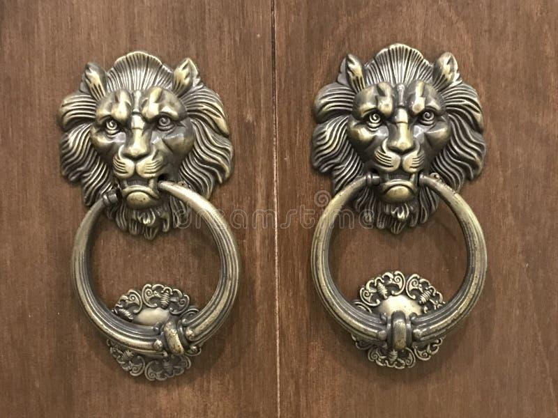 葡萄酒与狮子头的门把手 免版税库存图片