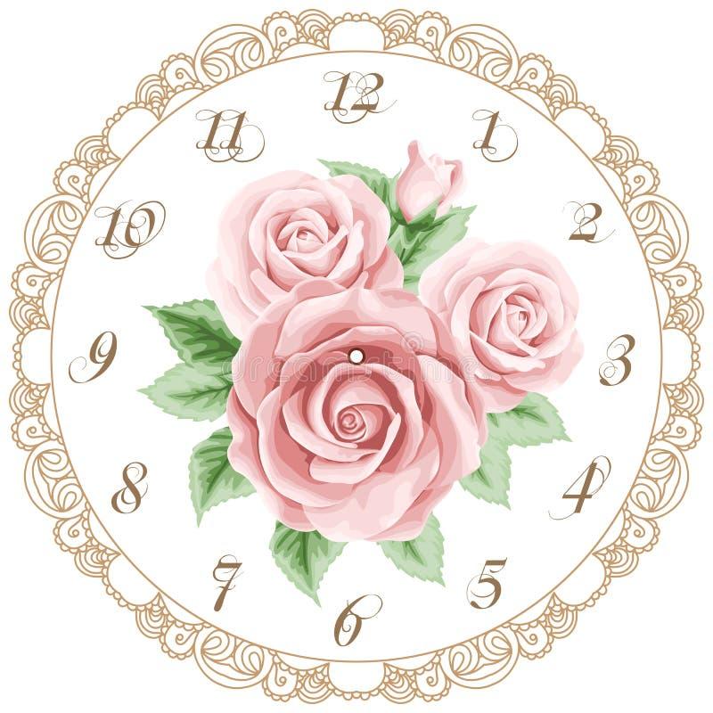 葡萄酒与玫瑰的时钟表盘 向量例证