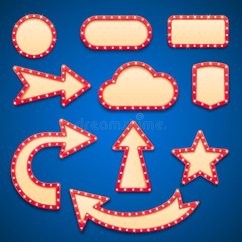 葡萄酒与电灯泡或减速火箭的维加斯标志的电影院框架 电灯被隔绝的边界标志、箭头和云彩 向量例证