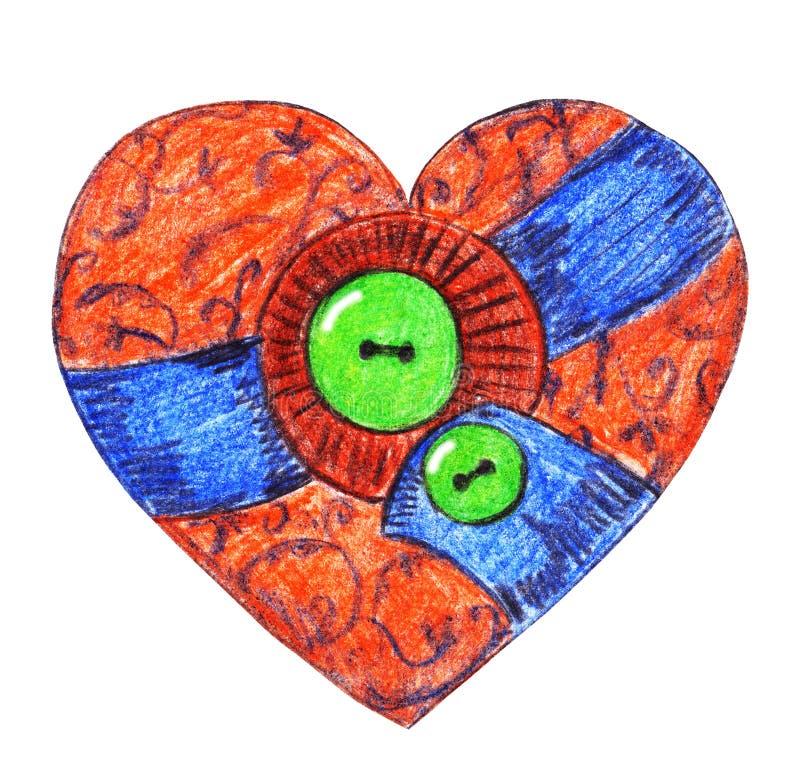 葡萄酒与绿色按钮的纺织品心脏 皇族释放例证
