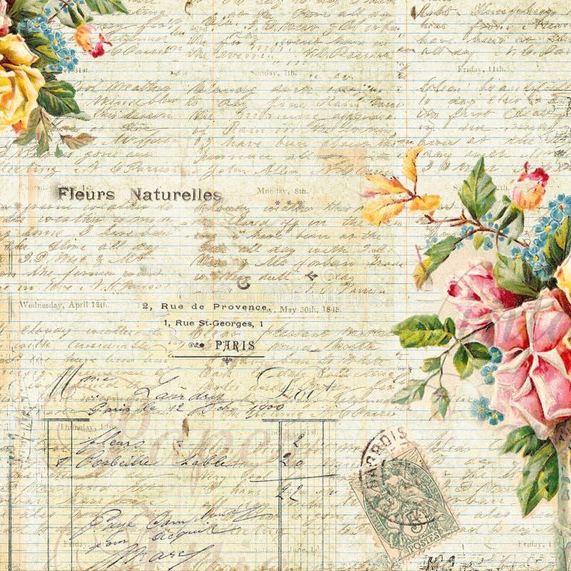 葡萄酒与花卉框架的文本背景 图库摄影