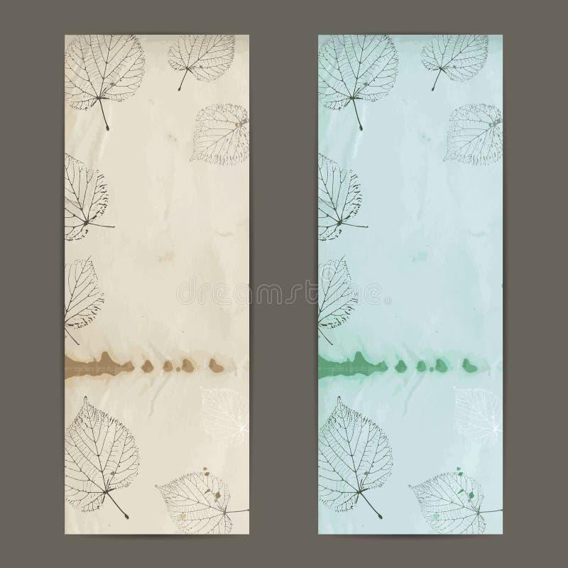 葡萄酒与菩提树的秋天横幅在老纸离开 向量例证