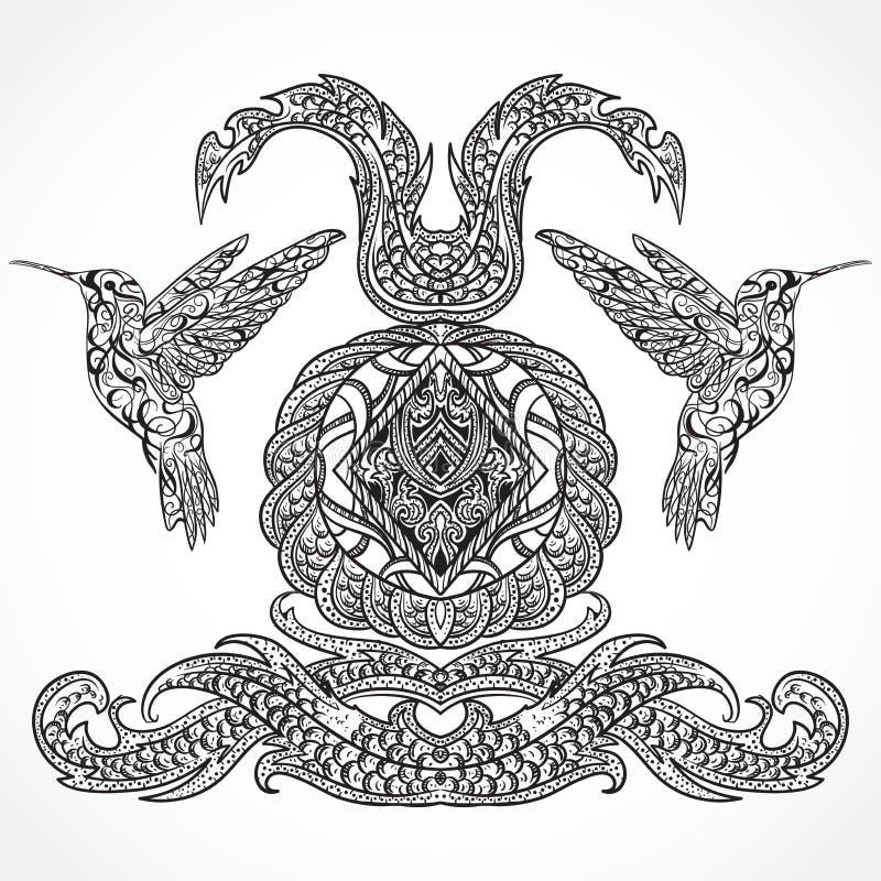 葡萄酒与蜂鸟和装饰书法元素的艺术设计 维多利亚女王时代的主题 库存例证