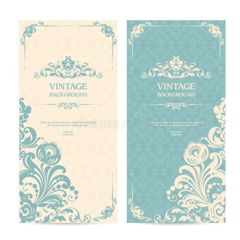 葡萄酒与装饰框架和被仿造的背景的模板集合 典雅的鞋带婚礼邀请,贺卡,横幅 向量例证