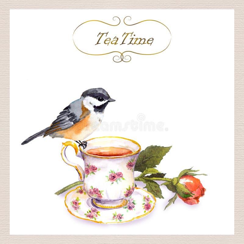 葡萄酒与逗人喜爱的水彩鸟,茶杯,玫瑰色花的下午茶时间卡片 向量例证