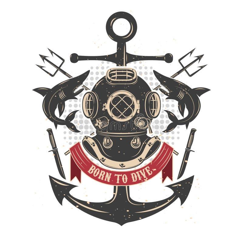 葡萄酒与鲨鱼和三叉戟的潜水盔甲 潜水者俱乐部embl 向量例证