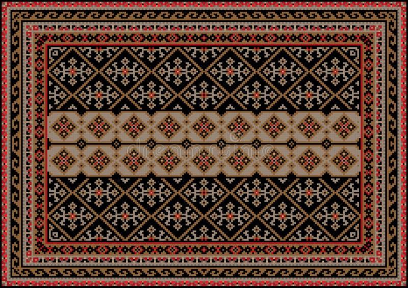 葡萄酒东方地毯在与米黄条纹的棕色和黑树荫下在中心和灰色与红色样式 库存例证