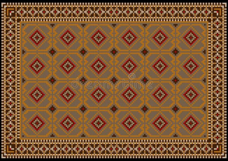 葡萄酒东方地毯在与米黄,灰色和橙色样式的棕色树荫下在黑背景的中心 向量例证