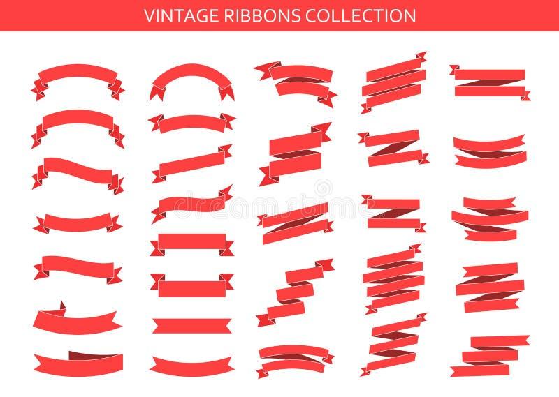 葡萄酒丝带横幅汇集 在白色背景隔绝的平的丝带例证 丝带集合 r 库存例证