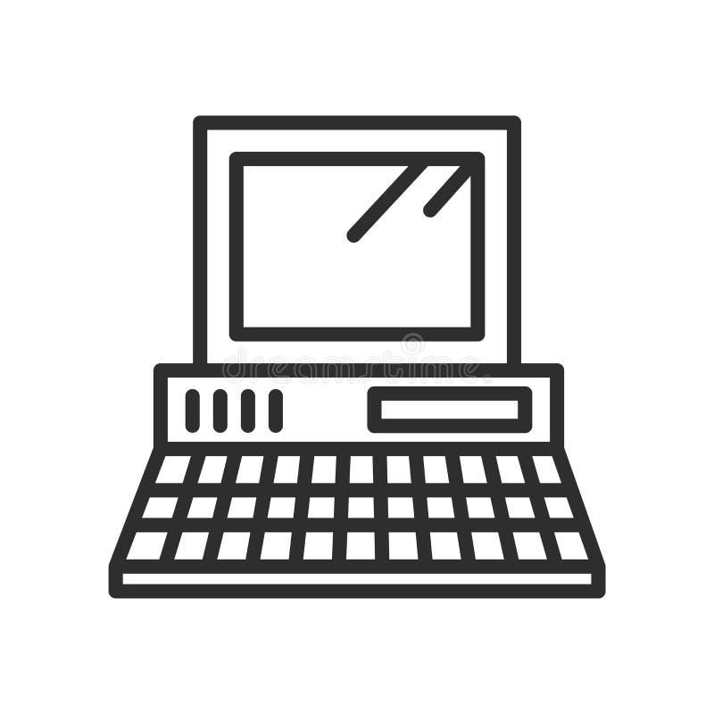 葡萄酒个人计算机的象传染媒介标志和标志隔绝了o 皇族释放例证