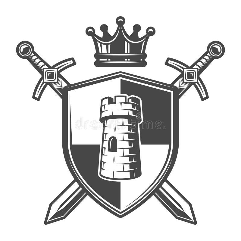 葡萄酒中世纪徽章模板 库存例证