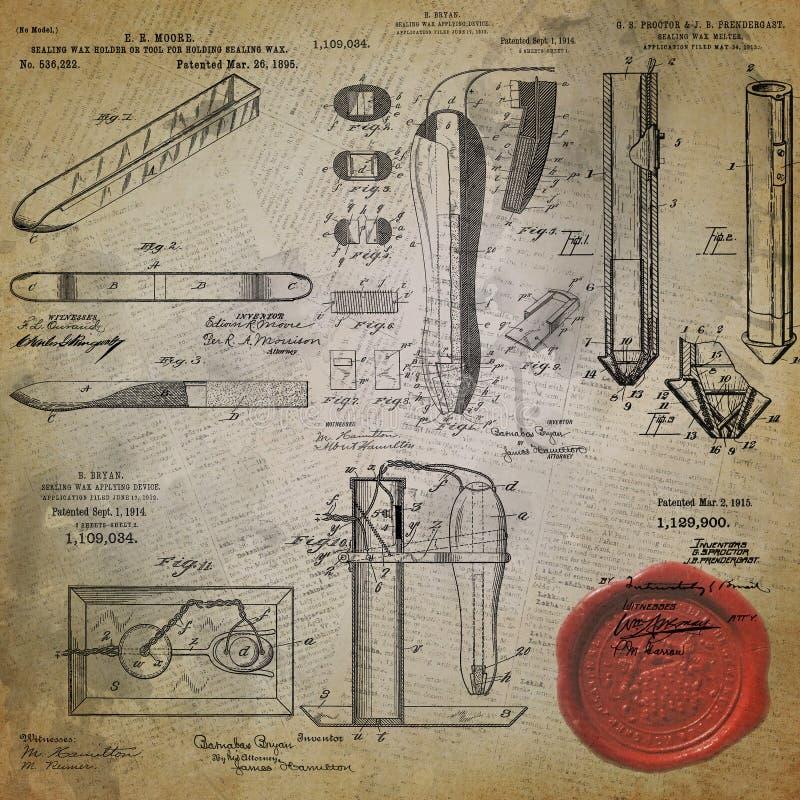 葡萄酒书法拼贴画背景资料设计-封印专利设计例证-信件-邮费 库存图片