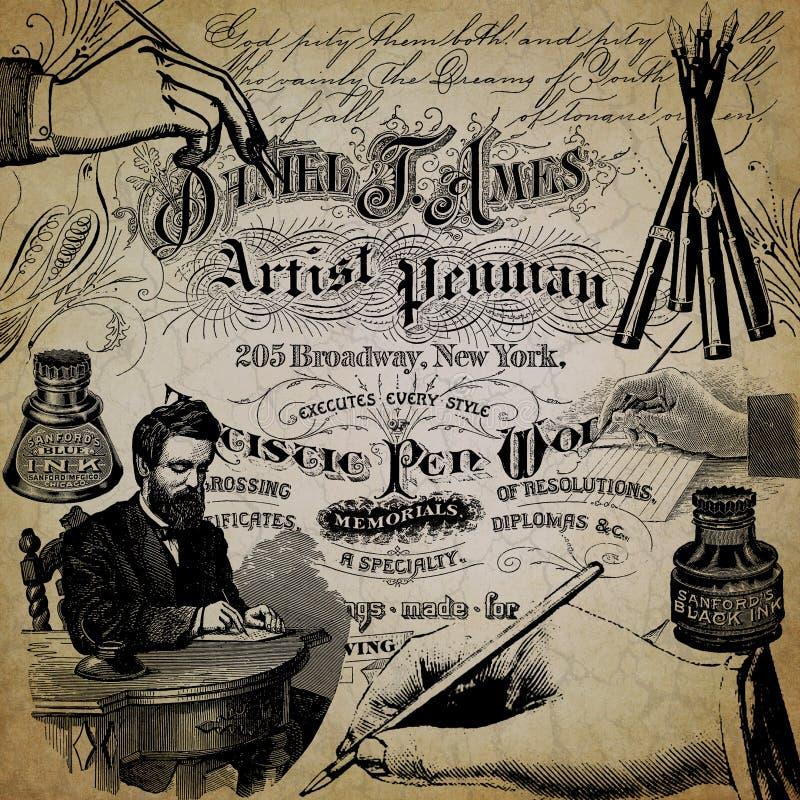 葡萄酒书法拼贴画背景资料设计-钢笔-书法-墨水-书法 免版税图库摄影