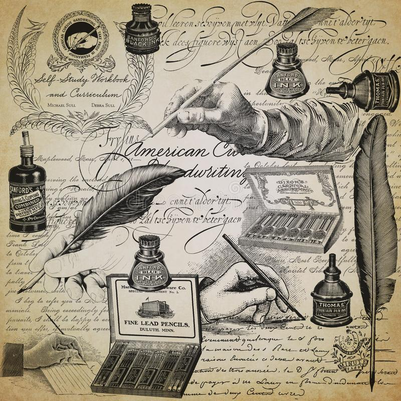 葡萄酒书法拼贴画背景资料设计-钢笔-书法-墨水-书法 免版税库存图片