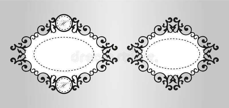 葡萄酒书法装饰背景,导航减速火箭的古色古香的空白的皇家巴洛克式的边界框架集合 向量例证