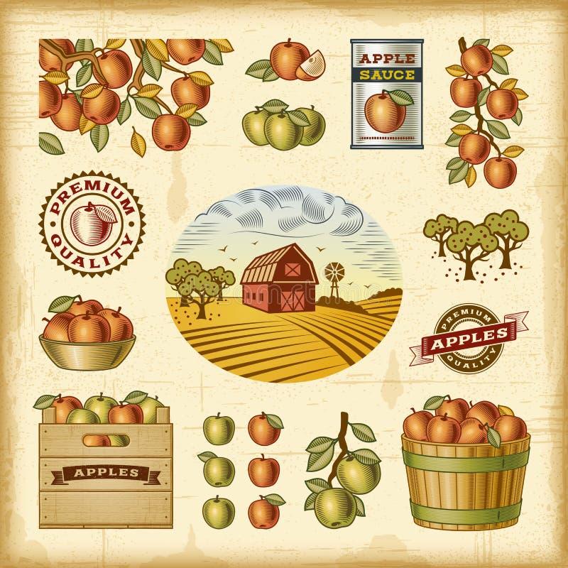 葡萄酒五颜六色的苹果收获集合 向量例证