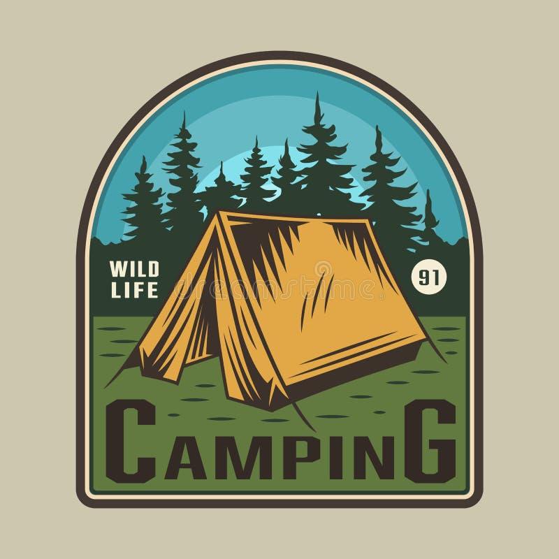 葡萄酒五颜六色的野营的时间象征 库存例证