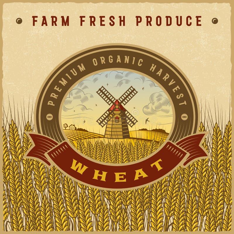 葡萄酒五颜六色的麦子收获标签 皇族释放例证