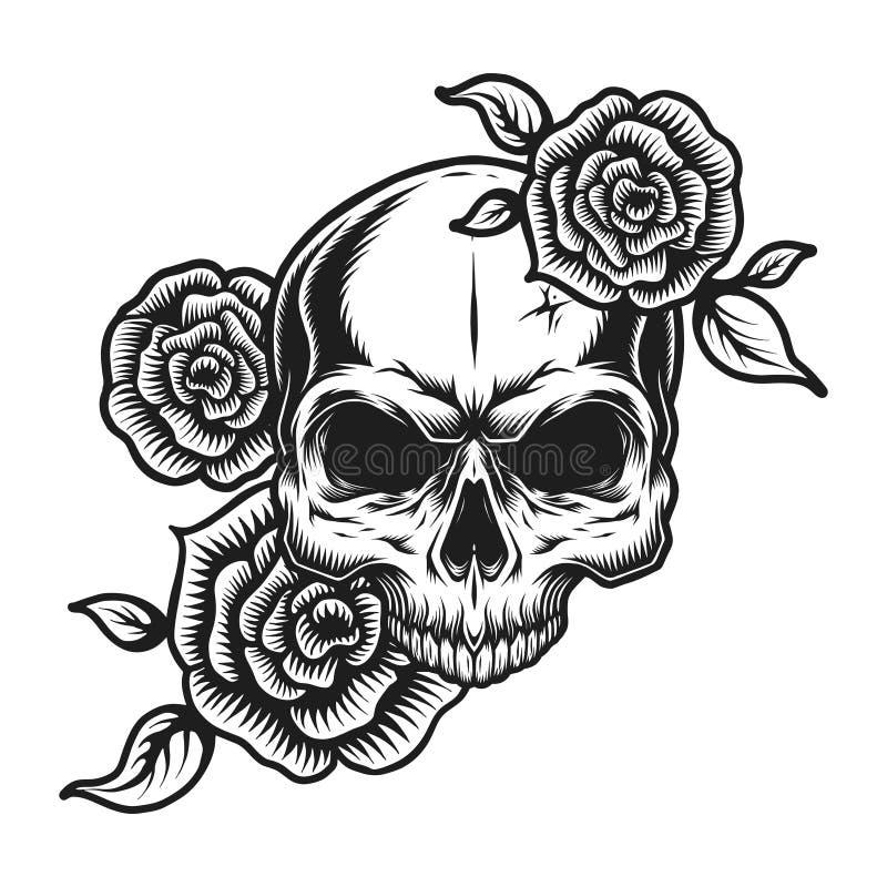 葡萄酒人的头骨纹身花刺概念 向量例证